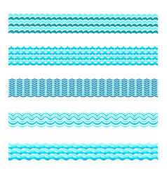 seamless blue water wave tiles set vector image