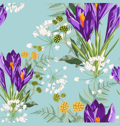 Seamless floral violet crocus flowers and fern vector