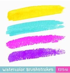 set colorful watercolor brush strokes vector image