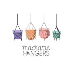 Set macrame pots hangers vector