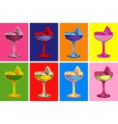 Set of colored cocktails vector