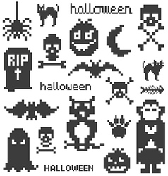 Set of icons on halloween theme vector image