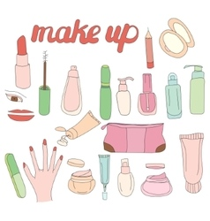Set with woman cosmetics Objects on white vector