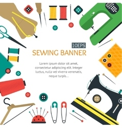 Sewing Banner Flat Design Style vector image