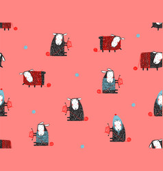sheep knitting craft seamless pattern background vector image