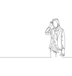 Single continuous line drawing young happy vector