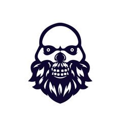 skull mascot logo black and white version vector image