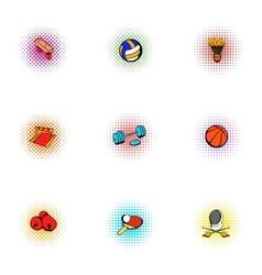 Sports equipment icons set pop-art style vector image
