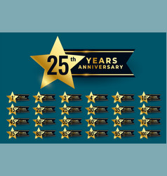 Star labels for wedding anniversary vector