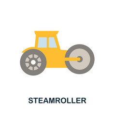 Steamroller icon simple element from construction vector