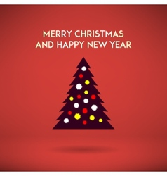 Stylish christmas and new year tree on a red vector image