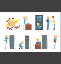 System administrator network engineer characters vector