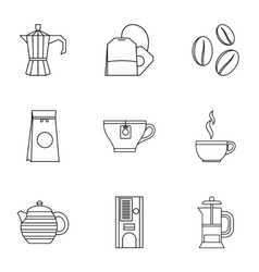 Tea icons set outline style vector