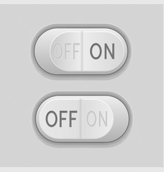 Toggle switch buttons on and off 3d gray push vector