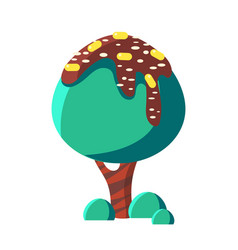 Turquoise cake tree colorful cartoon vector