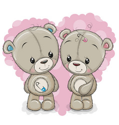 Two cartoon bears on a background of heart vector