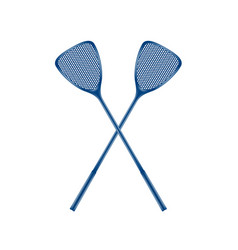 two crossed fly swatters in blue design vector image