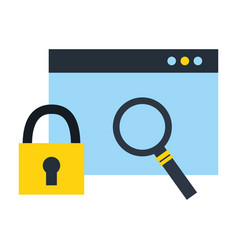 website security magnifying glass fintech vector image