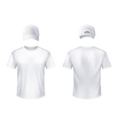 WhiteT-shirtt Baseball Cap Man Realistic vector