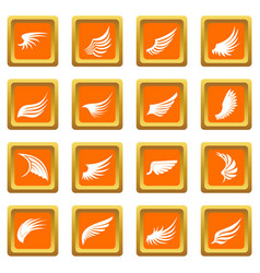 Wing icons set orange vector