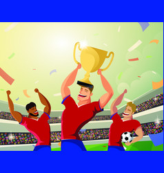 winner team player holding soccer ball and vector image