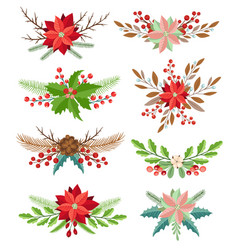 Winter floral elements vector