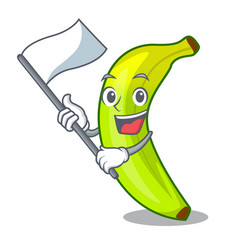 With flag fruit green bananas isolated on mascot vector