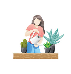 woman caring for flowers or indoor plants vector image