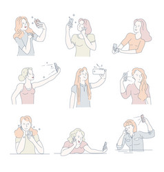 Women taking selfies on smartphone isolated icons vector
