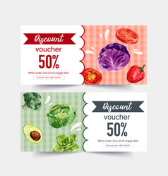 World food day voucher design with broccoli vector