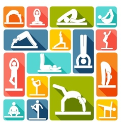 Yoga exercises icons flat vector image
