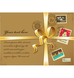 Christmas gift with gold ribbon and vintage vector image
