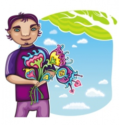 cute boy with flowers vector image vector image