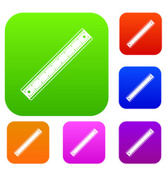 ruler set color collection vector image vector image