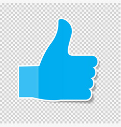 sticky paper thumbs up sign note on transparent vector image
