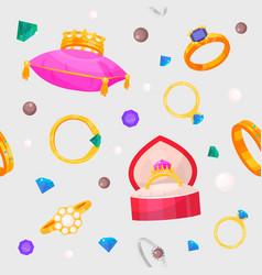 wedding rings set engagement symbol gold vector image