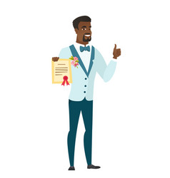young african-american groom holding a certificate vector image vector image