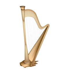 A Beautiful Golden Harp on White Background vector image vector image