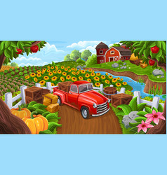 background with car in farm style vector image vector image