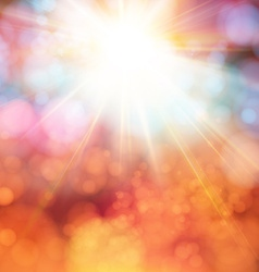 Bright shining sun with lens flare Soft background vector image