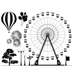 elements of amusement park vector image vector image