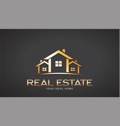 gold real estate houses logo design vector image vector image