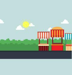 landscape of street stall art vector image vector image
