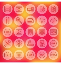 Line Circle Web Coding Icons vector image vector image
