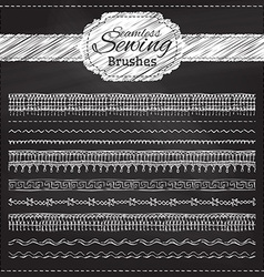 set of chalk sewing brushes vector image
