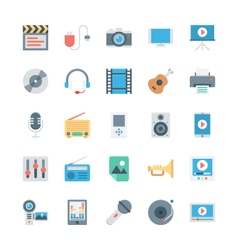 Music and multimedia icons 1 vector