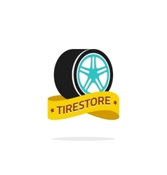 Tire store logo template isolated on white vector