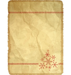 Aged paper with snowflakes vector image