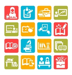color education icons vector image vector image