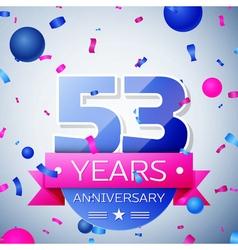 Fifty three years anniversary celebration on grey vector